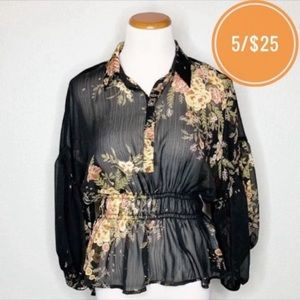 Forever 21 Contemporary Sheer Black Floral Blouse